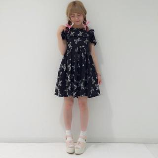 送料無料 Ank Rouge アンクルージュ  目隠しうさぎ ワンピース うさぎ(ミニワンピース)