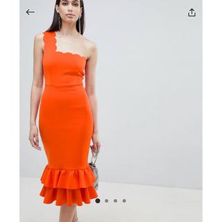 エイソス(asos)のasos ドレス 結婚式 パーティー ワンピース オレンジ(ひざ丈ワンピース)