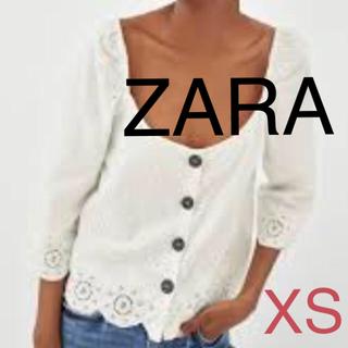 ザラ(ZARA)のZARA トップス リネン フロントボタン 刺繍トップス 新品(シャツ/ブラウス(長袖/七分))