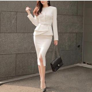 レディース上下セット ベルト付 ホワイト 白 M サイズ(その他ドレス)