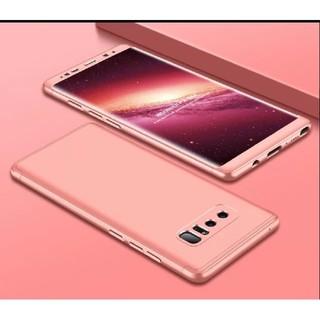 在庫僅か note8 ピンク 両面 フルカバーケース 曲面フィルム galaxy(Androidケース)