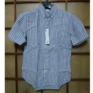 ジーユー(GU)のGU ラミーコットンストライプシャツ S 68ブルー リネン ジーユー(シャツ)