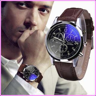 腕時計 メンズ 海外ブランド クォーツ 黒文字盤 茶ベルト 防水 (腕時計(アナログ))