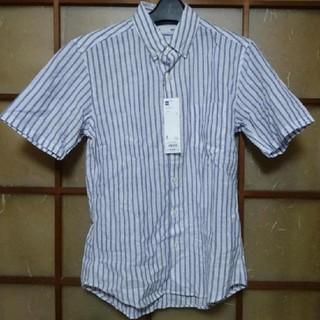 ジーユー(GU)のGU ラミーコットンストライプシャツ S 65ブルー リネン ジーユー(シャツ)