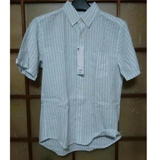 ジーユー(GU)のGU ラミーコットンストライプシャツ S グリーン リネン ジーユー(シャツ)