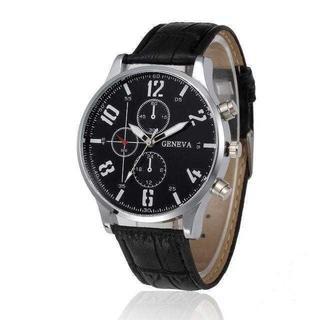 MC090 送料無料♪ミリタリー◆クロノグラフウォッチ ステンシルフォント 銀黒(腕時計(アナログ))