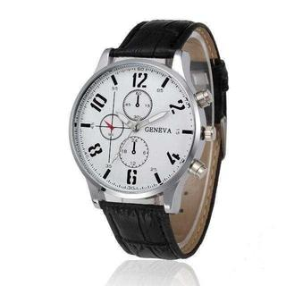 MC091 送料無料♪ミリタリー◆クロノグラフウォッチ ステンシルフォント 銀白(腕時計(アナログ))