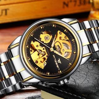 フルスケルトン 腕時計 ブラックフェイス スタッズ風(腕時計(アナログ))