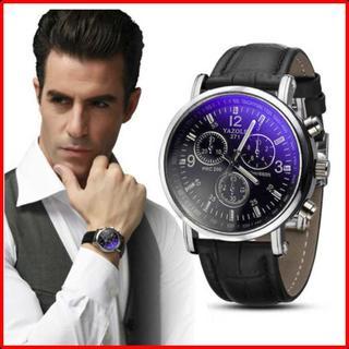 腕時計 メンズ 海外ブランド クォーツ 黒文字盤 黒ベルト 防水 (腕時計(アナログ))