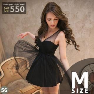 キャバドレス 56B 黒 Aライン チュールスカート シースルー S-M-L(ミニドレス)