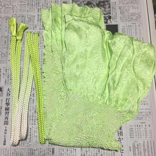 絞り 帯揚げ 帯締め セット ライトグリーン 黄緑 最終価格(和装小物)