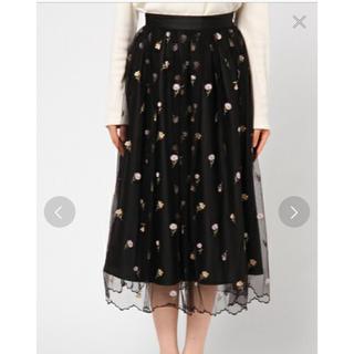 デビュードフィオレ(Debut de Fiore)の新品タグ付 デビュードフィオレのお花刺繍チュールスカート レッセパッセ(ロングスカート)