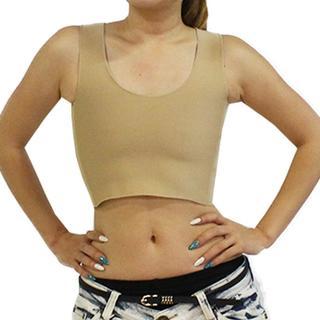 ○しっかり抑えられる○ 胸を小さく見せるブラ ハーフタンクトップ型 肌色XXL(タンクトップ)