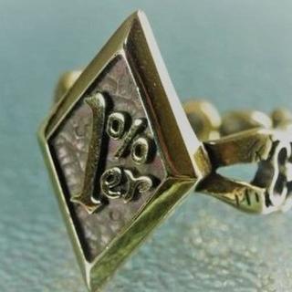 フリーサイズ7~30号★1%erリング★指輪★真鍮製★ガイコツ★スカル(リング(指輪))