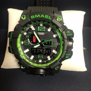 新品☆腕時計  SMAEL ビッグフェイス ブラック グリーン(腕時計(アナログ))