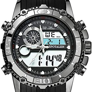 【新品】メンズ腕時計 電子運動ウォッチ ブラック クォーツ 生活防水 デジアナ(腕時計(アナログ))