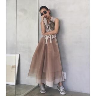 アメリヴィンテージ(Ameri VINTAGE)のAmeri♡TULLE DOCKING DRESS(ロングワンピース/マキシワンピース)