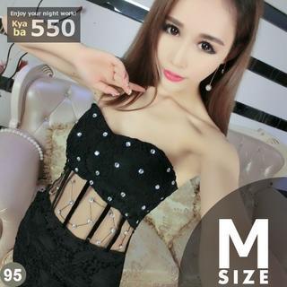 キャバドレス 95B 黒 ボディコン ミニ ドレス ビジューデコ S-M-L(ミニドレス)