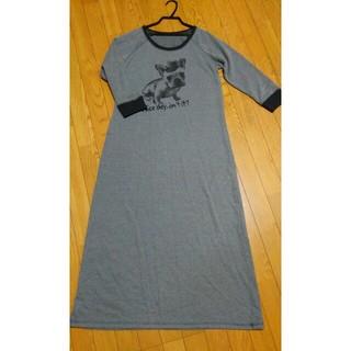ジーユー(GU)のジーユーカットソーロングワンピース七分袖🍀未使用💙(ロングワンピース/マキシワンピース)