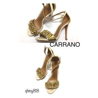 カラーノ(CARRANO)の美品【CARRANO】カラーノ ラインストーン サンダル 36サイズ(サンダル)
