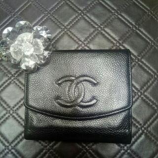 シャネル(CHANEL)のシャネルキャビアスキン ダブルホック折り財布(財布)