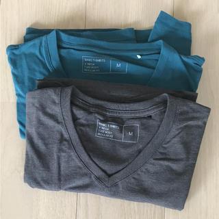 ジーユー(GU)のGU 長Tシャツ 2枚 青緑 グレー(Tシャツ/カットソー(七分/長袖))