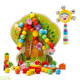 ひもとおし 紐通しおもちゃ ハンドベル・収納袋付き カラフ(知育玩具)