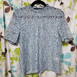 ジーユー(GU)のGU レースTシャツ ブルー(Tシャツ(半袖/袖なし))