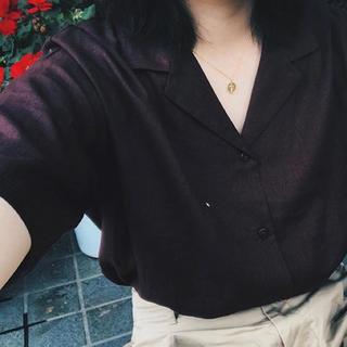 ジーユー(GU)のGU ジーユー リネン シャツ ブラウン(シャツ/ブラウス(半袖/袖なし))