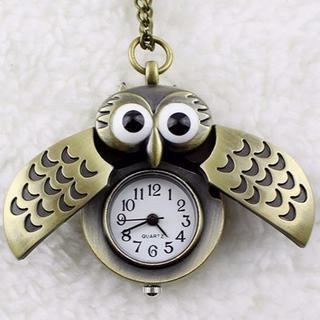 フクロウ時計 ふくろう懐中時計ロングネックレス♪ 新品未使用品 送料無料(ネックレス)