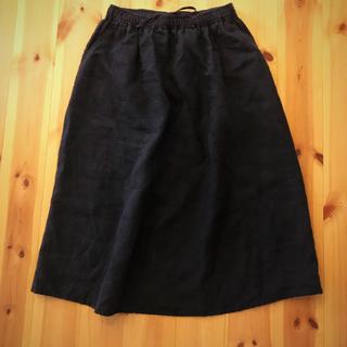 MUJI (無印良品) - 無印良品 リネン スカート ブラック