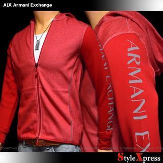 アルマーニエクスチェンジ(ARMANI EXCHANGE)の新品 アルマーニエクスチェンジ XS S M L 袖ロゴ フルジップパーカー 赤(パーカー)