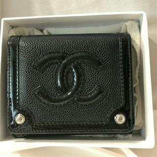 シャネル CHANEL 三つ折り 財布 ブラック 极美品