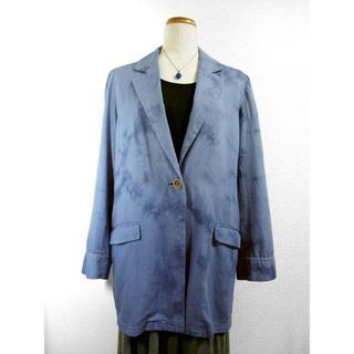 デニムジャケット(ムラ絞り染・青色濃淡)(テーラードジャケット)