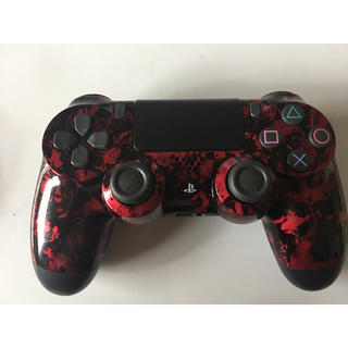SONY - ps4 コントローラー 赤黒 ラップ塗装