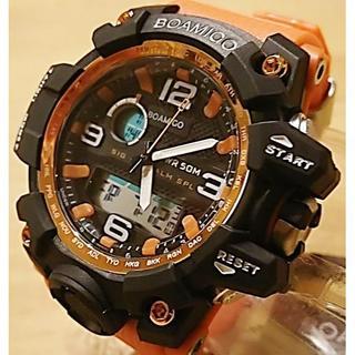 大人気!■新品■ビッグフェイス ダイバーズウォッチ オレンジ上1 高級感(腕時計(デジタル))