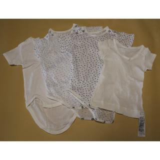 ムジルシリョウヒン(MUJI (無印良品))の【新品】ロンパース肌着3枚+半袖肌着80 4枚セット(肌着/下着)
