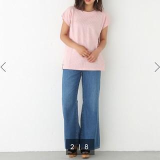 スライ(SLY)のSLY 凹凸ワッフル素材 サイドスリット ベーシックTシャツ  ピンク F(Tシャツ(半袖/袖なし))