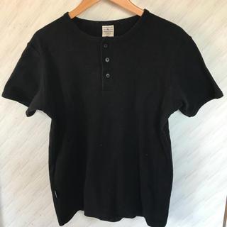 アヴィレックス(AVIREX)のAVIREX アヴィレックス 半袖 Tシャツ ヘンリー 黒 ブラック 古着(Tシャツ/カットソー(半袖/袖なし))