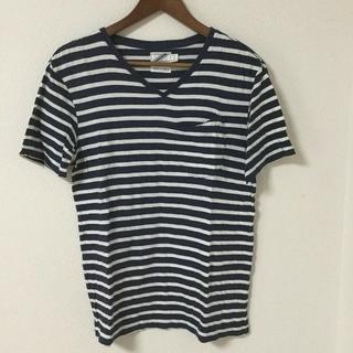 ツーディライブ(02DERIV.)の02DERIV ボーダー Tシャツ ポケット 日本製  紺×白(Tシャツ/カットソー(半袖/袖なし))