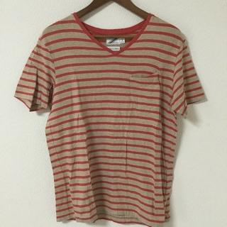 ツーディライブ(02DERIV.)の02DERIV ボーダー Tシャツ ポケット 日本製 赤×茶(Tシャツ/カットソー(半袖/袖なし))