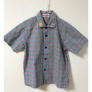 mikihouse - 【美品】ミキハウス110cm 襟クマ チェックシャツ