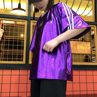 ☆ スリーライン スパンコール シャツ ダンス 衣装 ユニセックス 紫色  p☆(ダンス/バレエ)