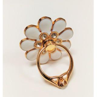 花 の スマホリング バンカーリング フラワー 指輪リング ホワイト 白(その他)