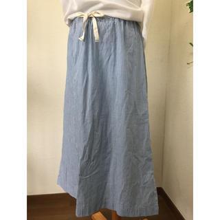 MUJI (無印良品) - 無印良品 ストライプスカート 綿100