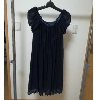 インタープラネット(INTERPLANET)のインタープラネット 結婚式 ワンピース ドレス 紺 ネイビー 肩 袖付き M(ミディアムドレス)