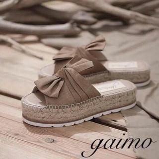 ガイモ(gaimo)の1度使用のみ✨ オトナミューズ掲載 gaimo ラフィア リボンサンダル(サンダル)