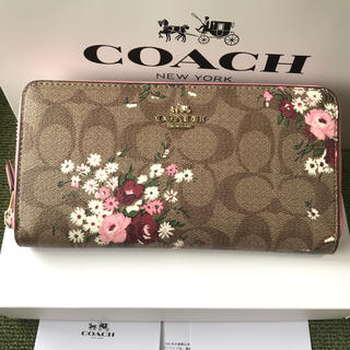 コーチ(COACH)のコーチ 長財布 coach  ラウンドファスナー 新作花柄(財布)