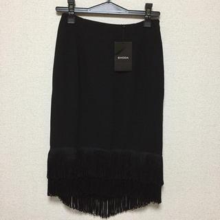 エモダ(EMODA)の🍀新品未使用【EMODA】フリンジBLACKスカート(ひざ丈スカート)