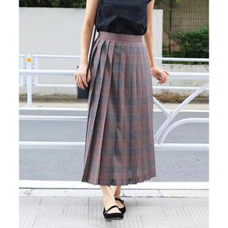 イエナ(IENA)のIENA TWシアーチェックプリーツスカート ブラウン 40 定価20,520(ロングスカート)